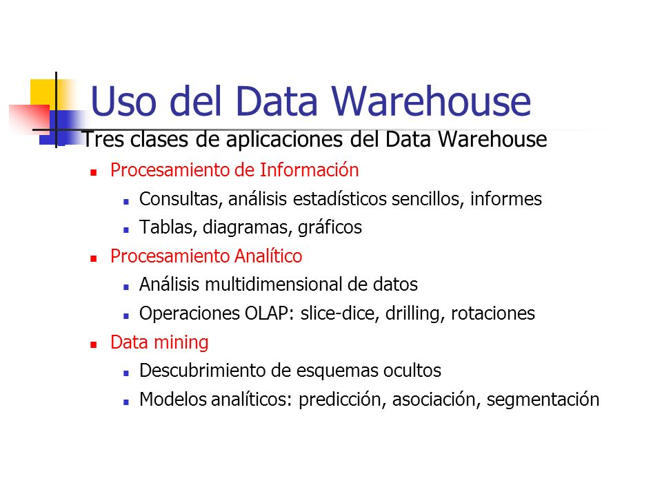 Uso del Data Warehouse Tres clases de aplicaciones del Data Warehouse