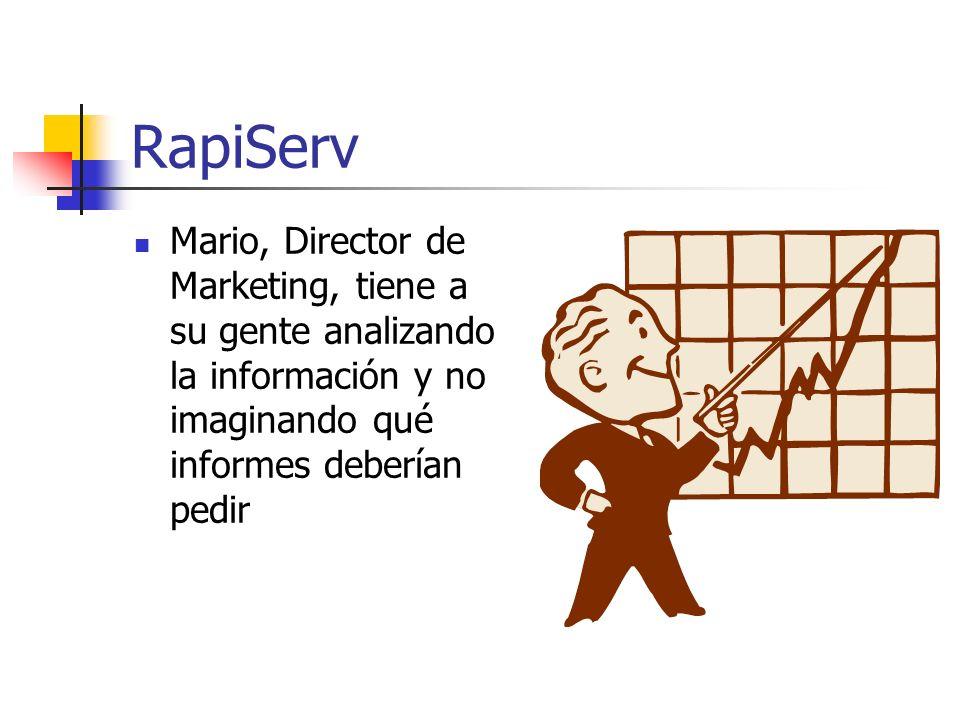 RapiServ Mario, Director de Marketing, tiene a su gente analizando la información y no imaginando qué informes deberían pedir.