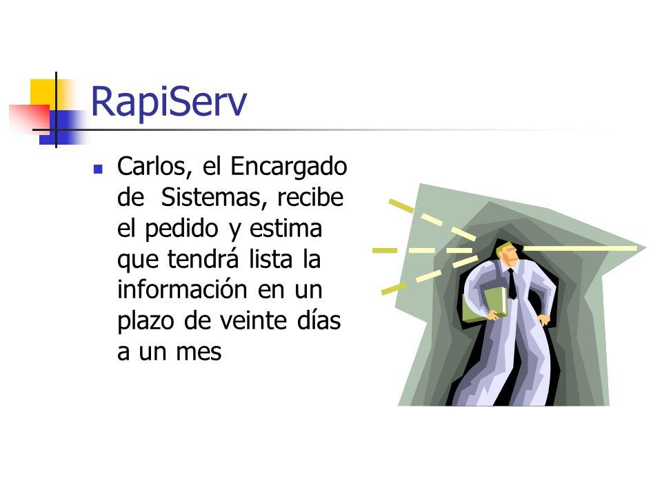 RapiServ Carlos, el Encargado de Sistemas, recibe el pedido y estima que tendrá lista la información en un plazo de veinte días a un mes.