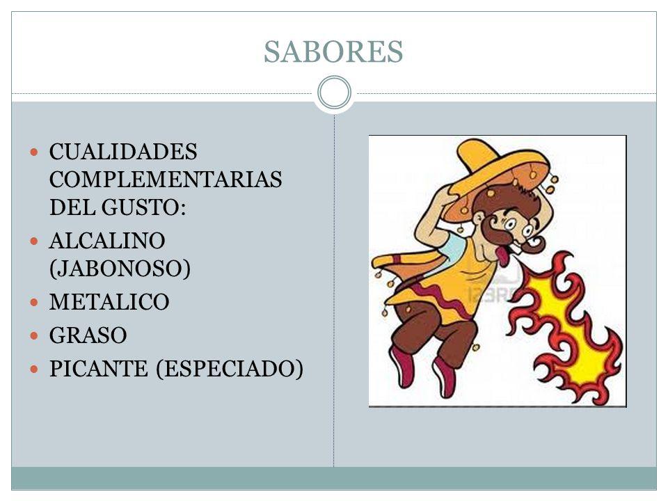 SABORES CUALIDADES COMPLEMENTARIAS DEL GUSTO: ALCALINO (JABONOSO)