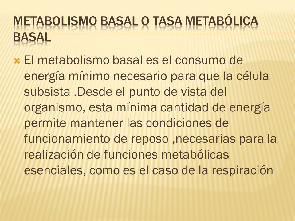 Metabolismo basal o tasa metabólica basal