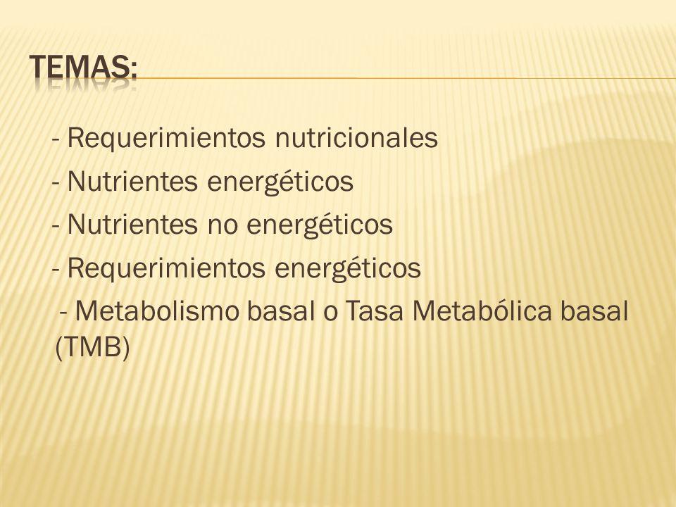 Temas: - Requerimientos nutricionales - Nutrientes energéticos