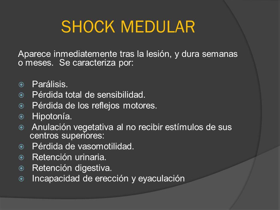 SHOCK MEDULAR Aparece inmediatemente tras la lesión, y dura semanas o meses. Se caracteriza por: Parálisis.