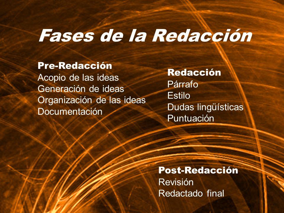 Fases de la Redacción Redacción Párrafo Estilo Dudas lingüísticas Puntuación.