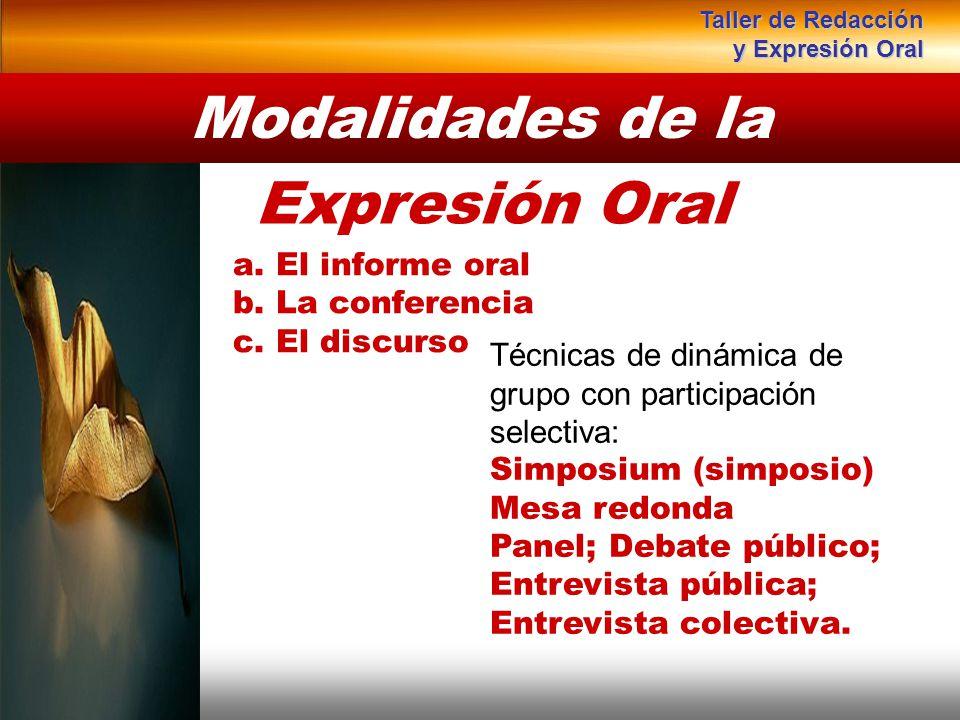 a. El informe oral b. La conferencia c. El discurso