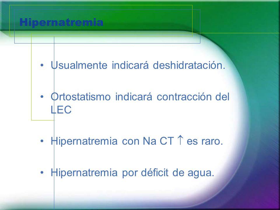 Hipernatremia Usualmente indicará deshidratación. Ortostatismo indicará contracción del LEC. Hipernatremia con Na CT  es raro.