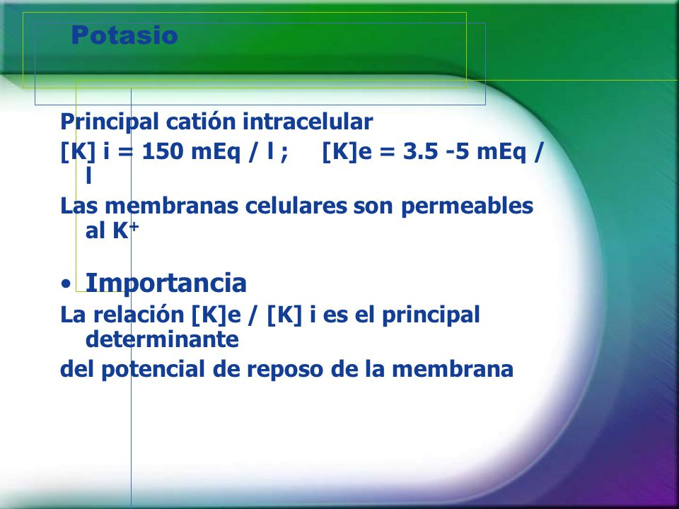 Potasio Importancia Principal catión intracelular