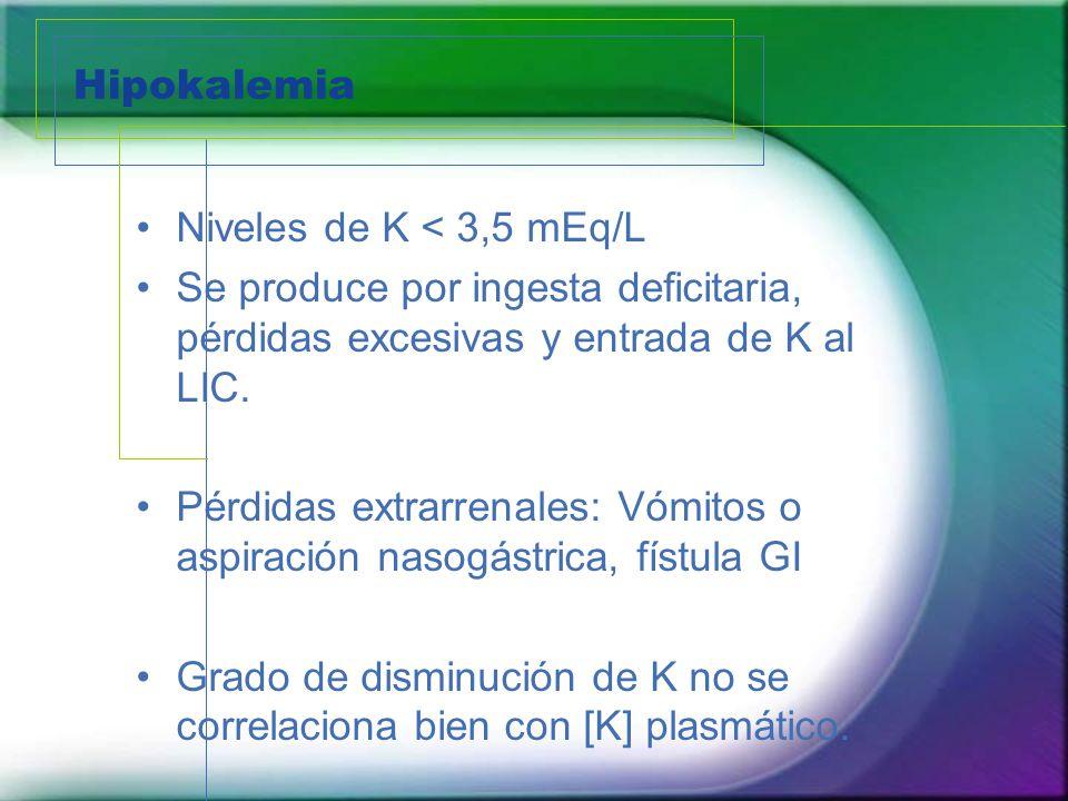 Hipokalemia Niveles de K < 3,5 mEq/L. Se produce por ingesta deficitaria, pérdidas excesivas y entrada de K al LIC.