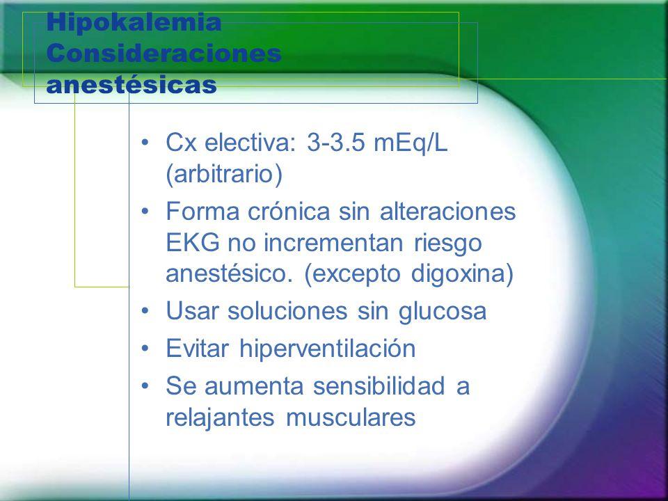 Hipokalemia Consideraciones anestésicas