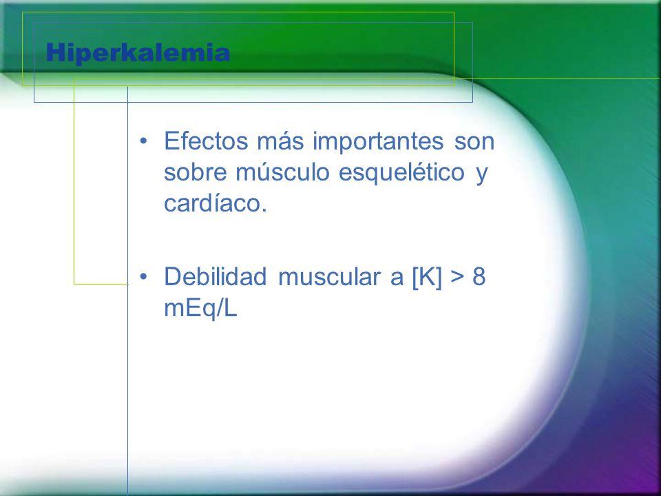 Hiperkalemia Efectos más importantes son sobre músculo esquelético y cardíaco.