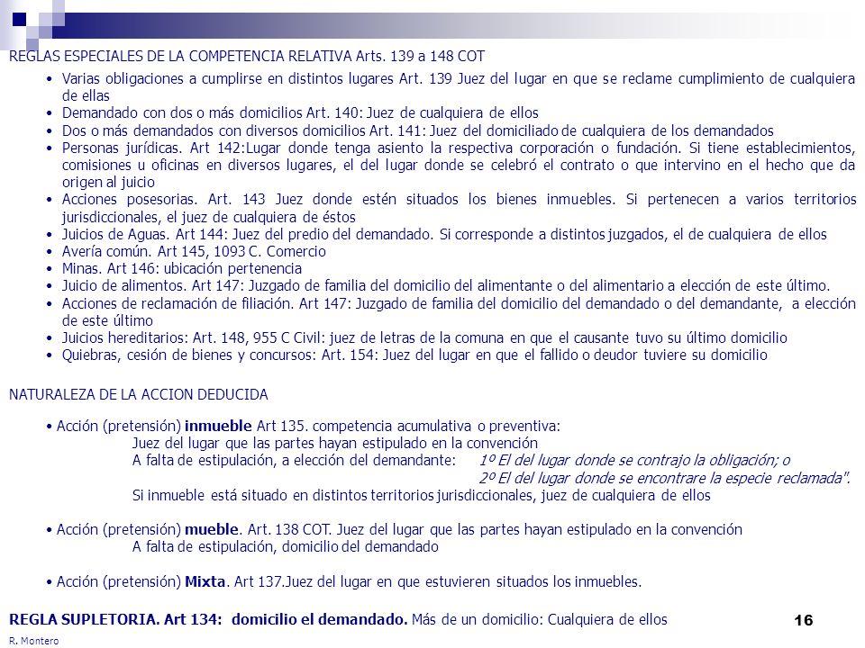 REGLAS ESPECIALES DE LA COMPETENCIA RELATIVA Arts. 139 a 148 COT