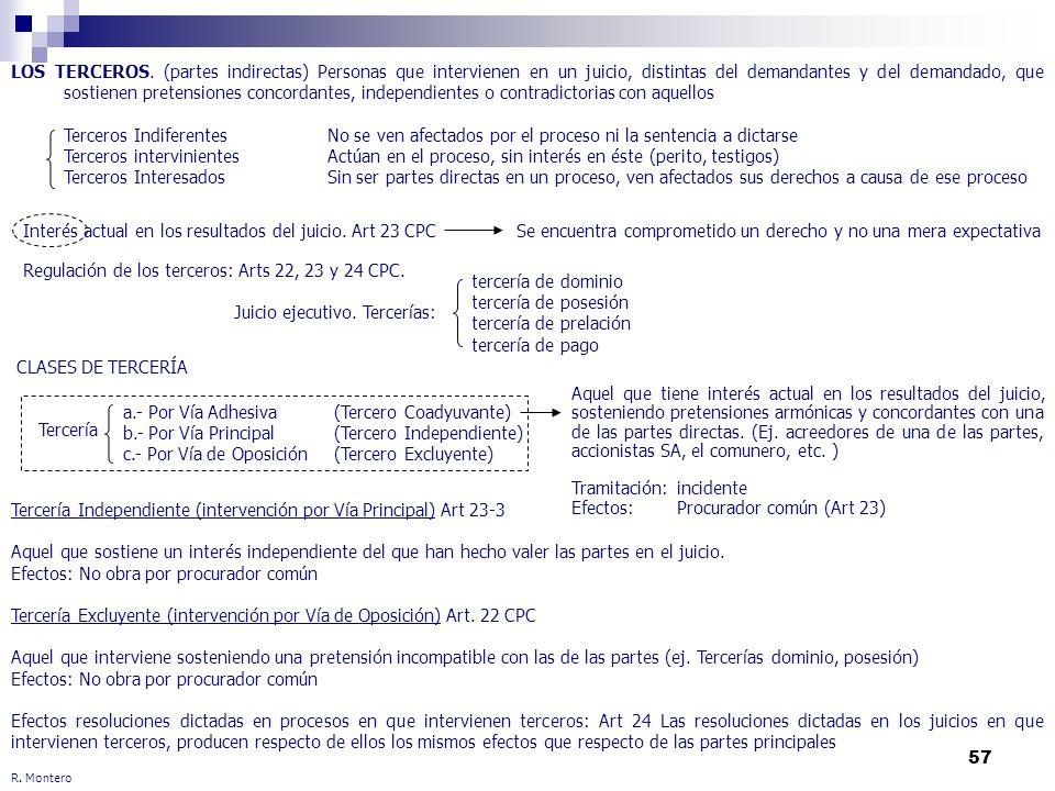 Regulación de los terceros: Arts 22, 23 y 24 CPC.