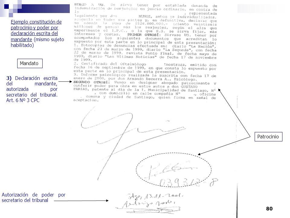 Ejemplo constitución de patrocinio y poder por declaración escrita del mandante (mismo sujeto habilitado)