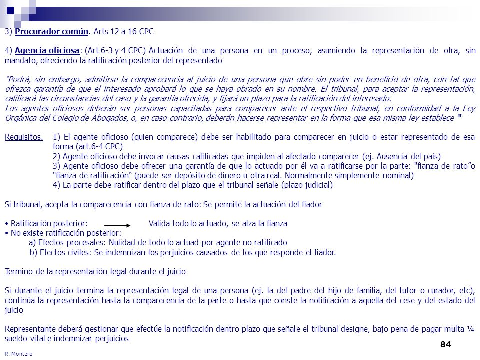 3) Procurador común. Arts 12 a 16 CPC