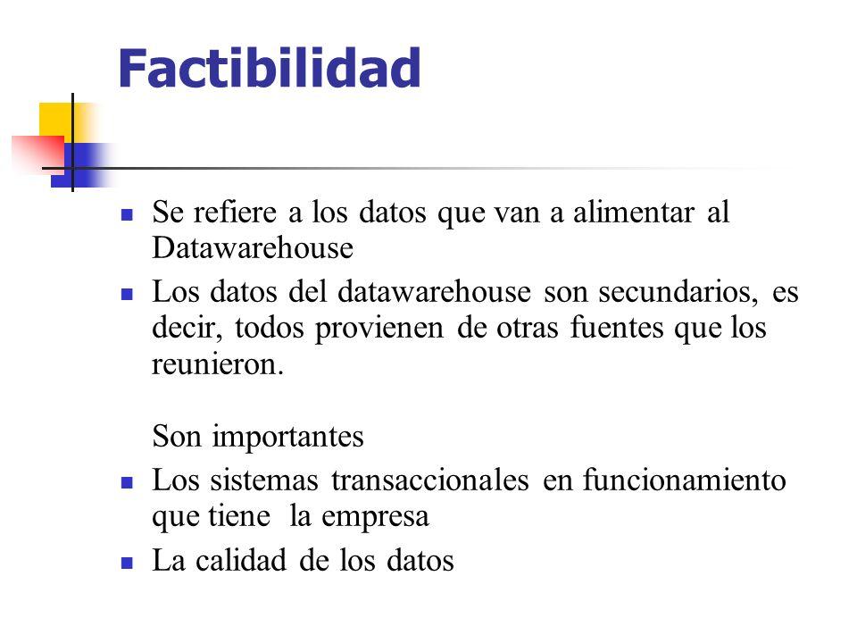 Factibilidad Se refiere a los datos que van a alimentar al Datawarehouse.