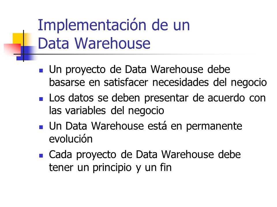 Implementación de un Data Warehouse