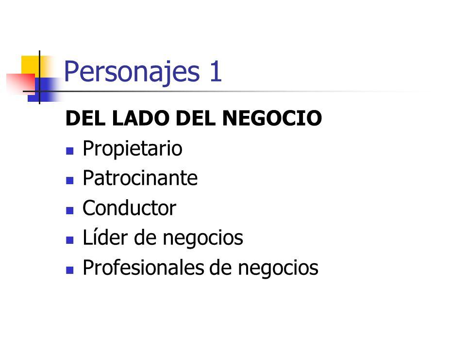 Personajes 1 DEL LADO DEL NEGOCIO Propietario Patrocinante Conductor