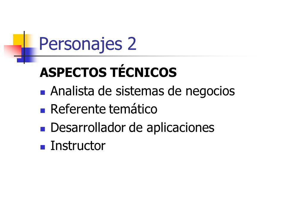 Personajes 2 ASPECTOS TÉCNICOS Analista de sistemas de negocios