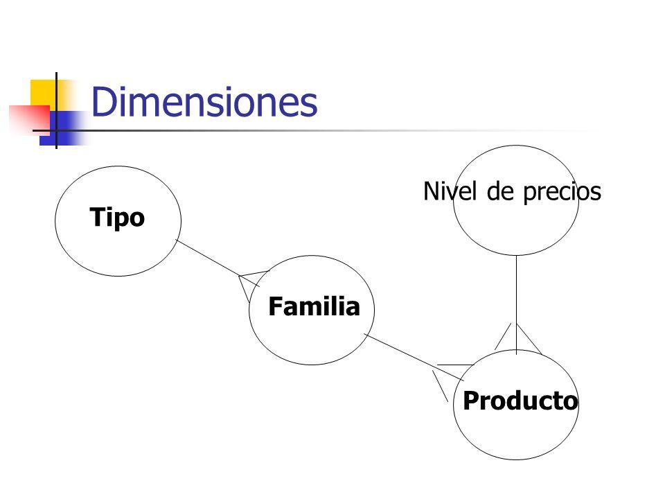 Dimensiones Nivel de precios Tipo Familia Producto