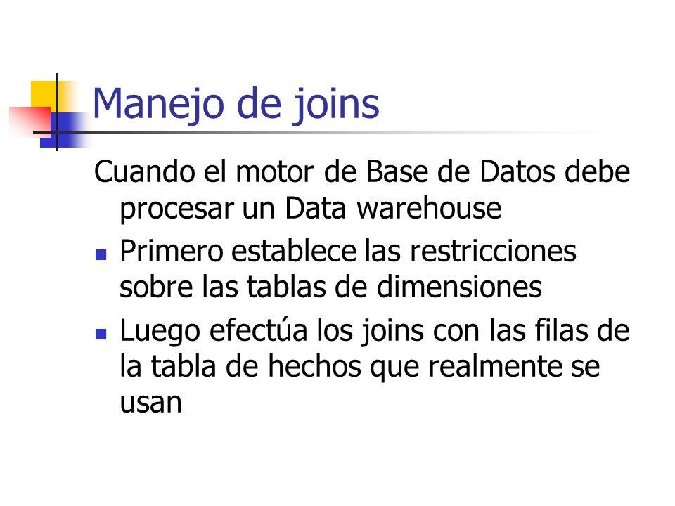 Manejo de joinsCuando el motor de Base de Datos debe procesar un Data warehouse. Primero establece las restricciones sobre las tablas de dimensiones.