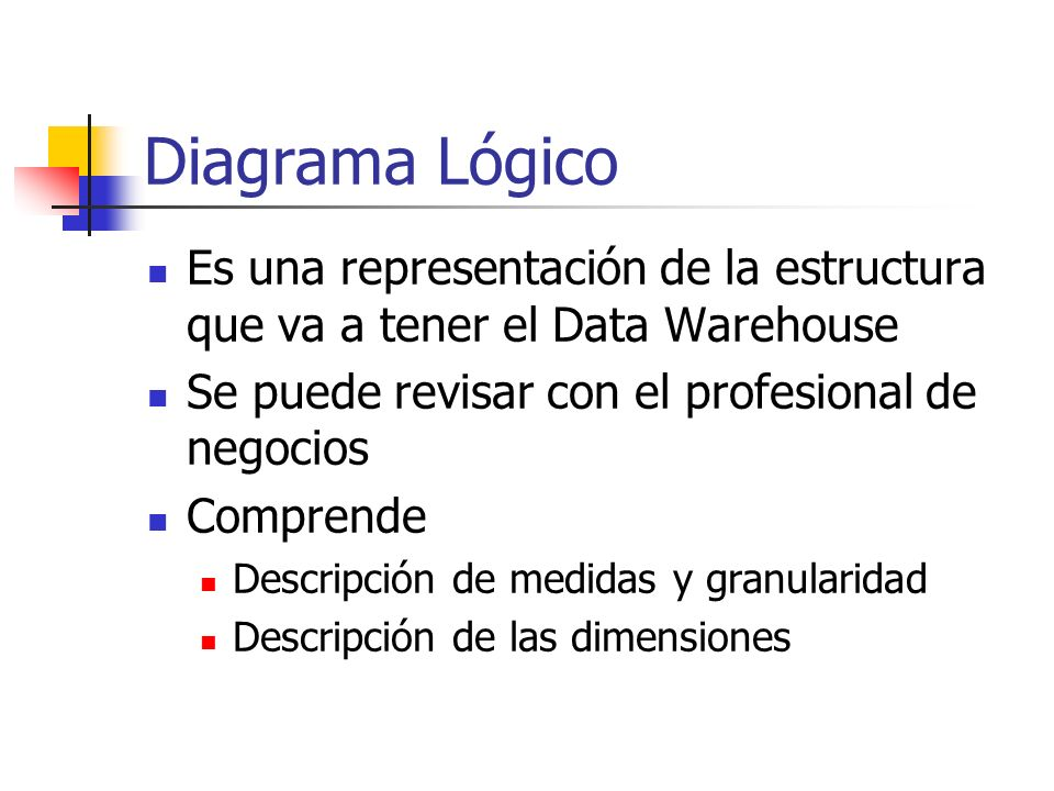 Diagrama LógicoEs una representación de la estructura que va a tener el Data Warehouse. Se puede revisar con el profesional de negocios.