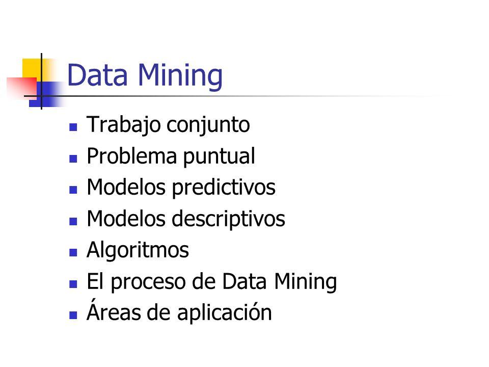 Data Mining Trabajo conjunto Problema puntual Modelos predictivos