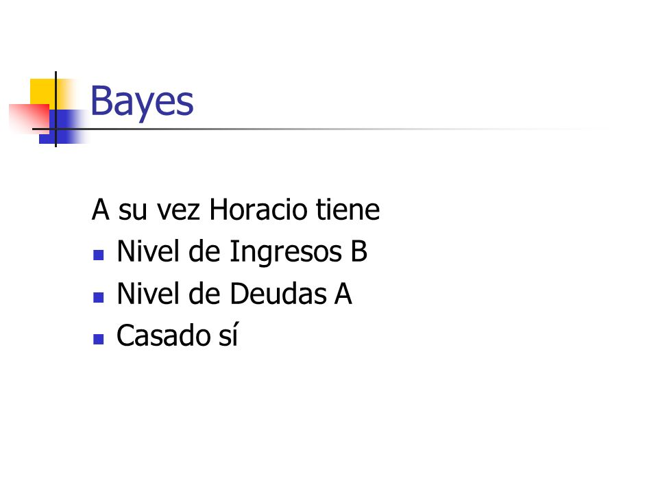 Bayes A su vez Horacio tiene Nivel de Ingresos B Nivel de Deudas A