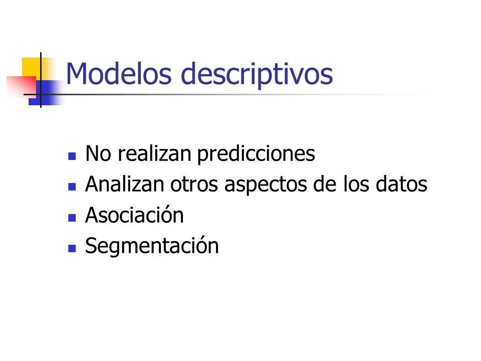 Modelos descriptivos No realizan predicciones