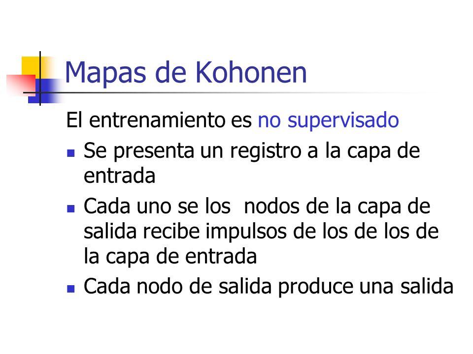 Mapas de Kohonen El entrenamiento es no supervisado