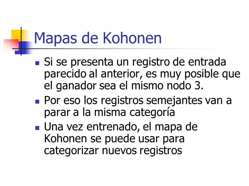Mapas de Kohonen Si se presenta un registro de entrada parecido al anterior, es muy posible que el ganador sea el mismo nodo 3.