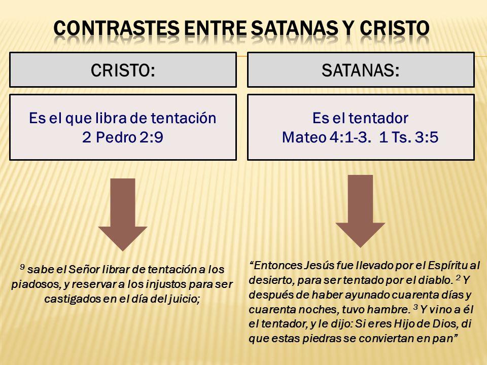 CONTRASTES ENTRE SATANAS Y CRISTO Es el que libra de tentación