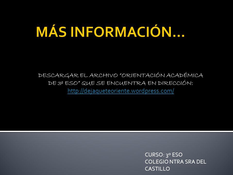 MÁS INFORMACIÓN... DESCARGAR EL ARCHIVO ORIENTACIÓN ACADÉMICA DE 3º ESO QUE SE ENCUENTRA EN DIRECCIÓN: http://dejaqueteoriente.wordpress.com/