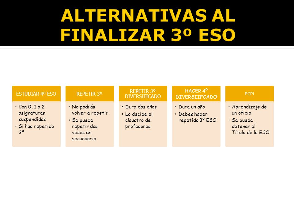 ALTERNATIVAS AL FINALIZAR 3º ESO