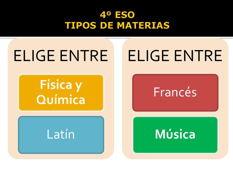ELIGE ENTRE Física y Química Latín Francés Música