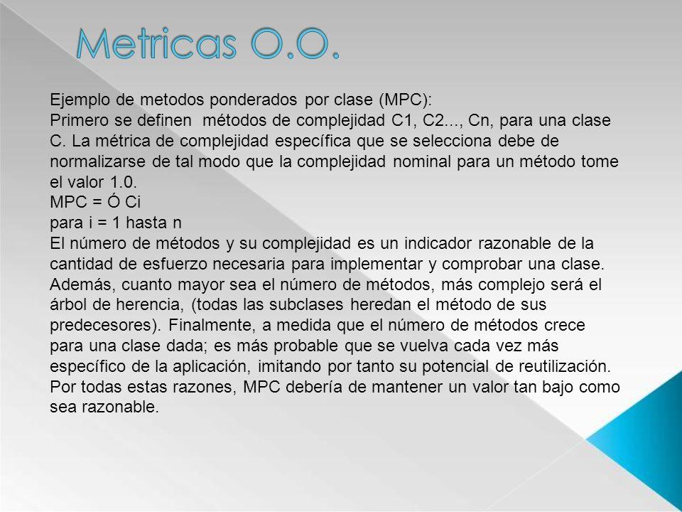 Metricas O.O. Ejemplo de metodos ponderados por clase (MPC):