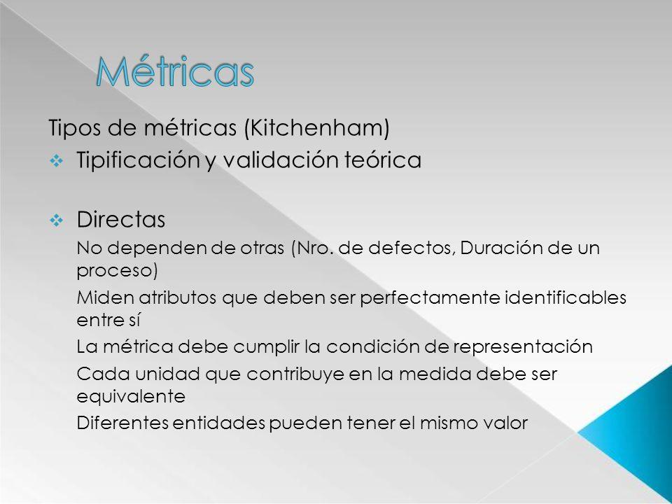 Métricas Tipos de métricas (Kitchenham)