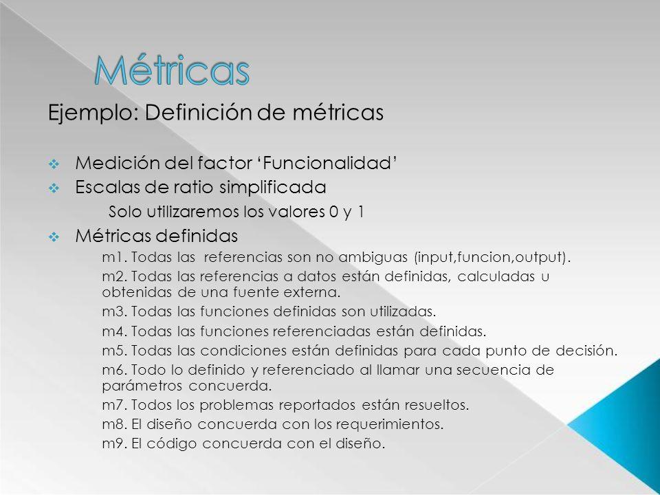 Métricas Ejemplo: Definición de métricas