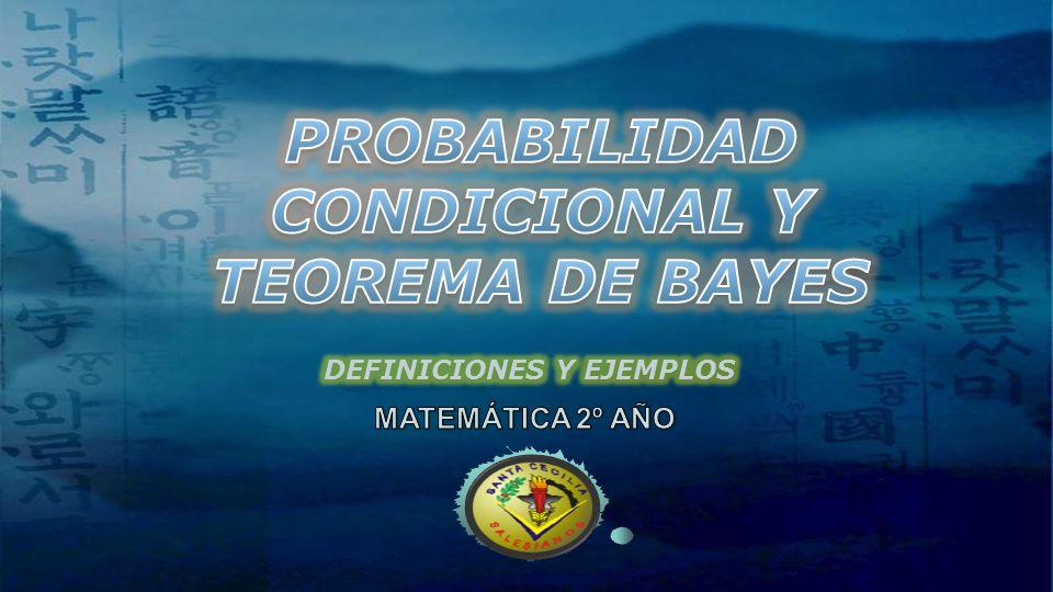 PROBABILIDAD CONDICIONAL Y TEOREMA DE BAYES
