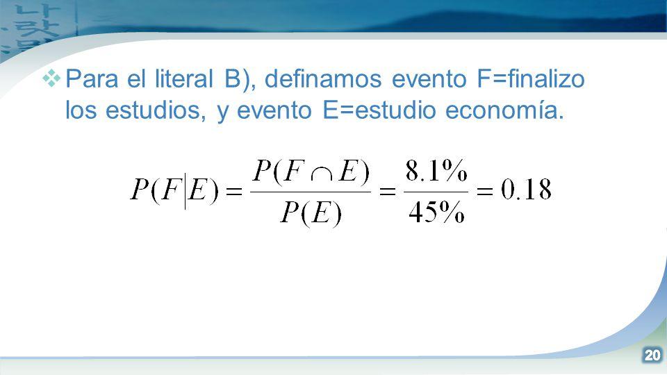 Para el literal B), definamos evento F=finalizo los estudios, y evento E=estudio economía.