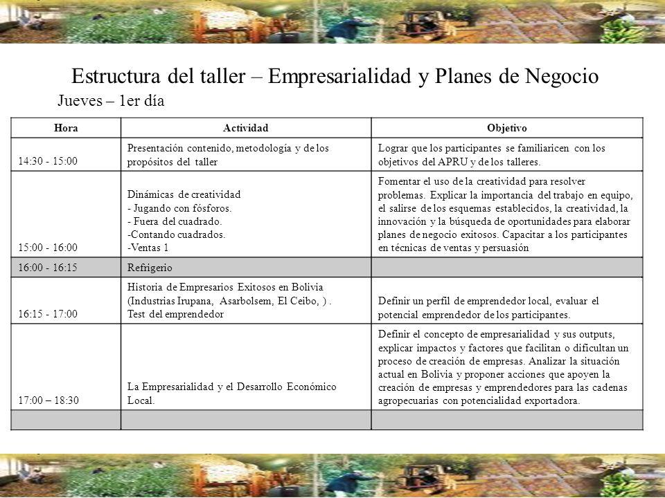 Estructura del taller – Empresarialidad y Planes de Negocio