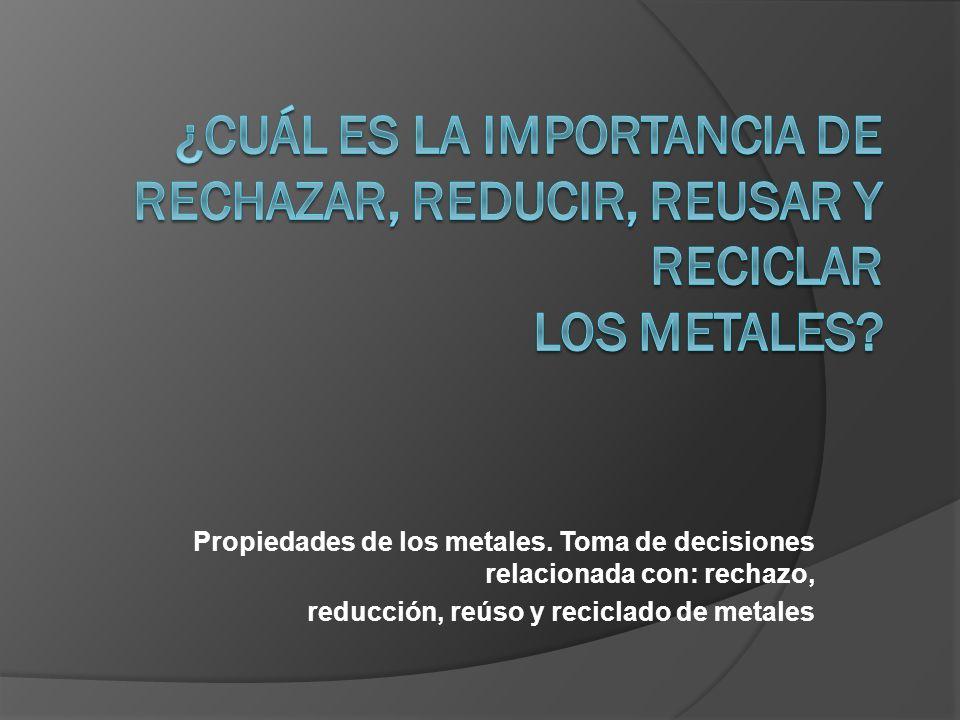 ¿Cuál es la importancia de rechazar, reducir, reusar y reciclar los metales