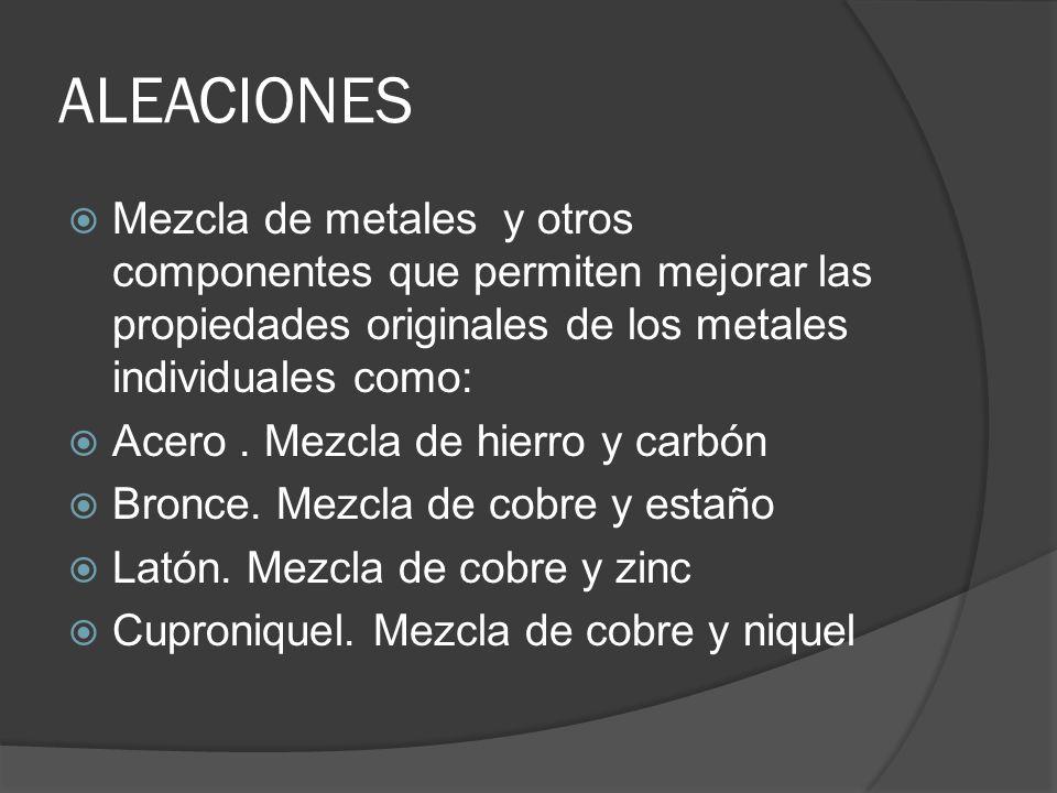 ALEACIONES Mezcla de metales y otros componentes que permiten mejorar las propiedades originales de los metales individuales como: