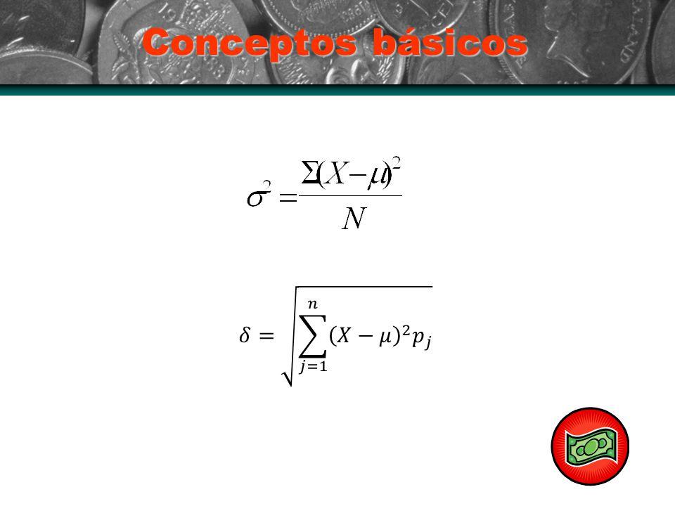 Conceptos básicos 𝛿= 𝑗=1 𝑛 𝑋−𝜇 2 𝑝 𝑗