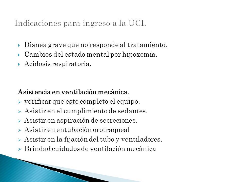 Indicaciones para ingreso a la UCI.
