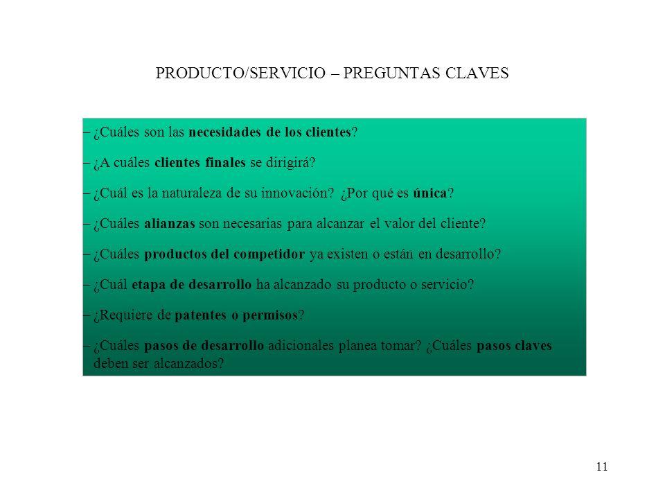 PRODUCTO/SERVICIO – PREGUNTAS CLAVES