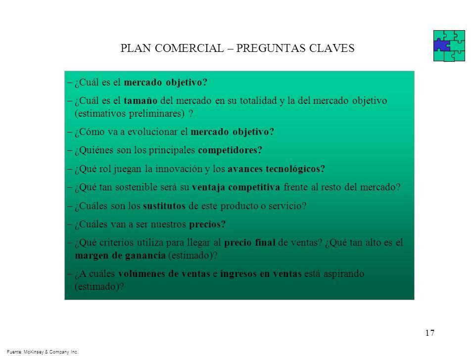 PLAN COMERCIAL – PREGUNTAS CLAVES