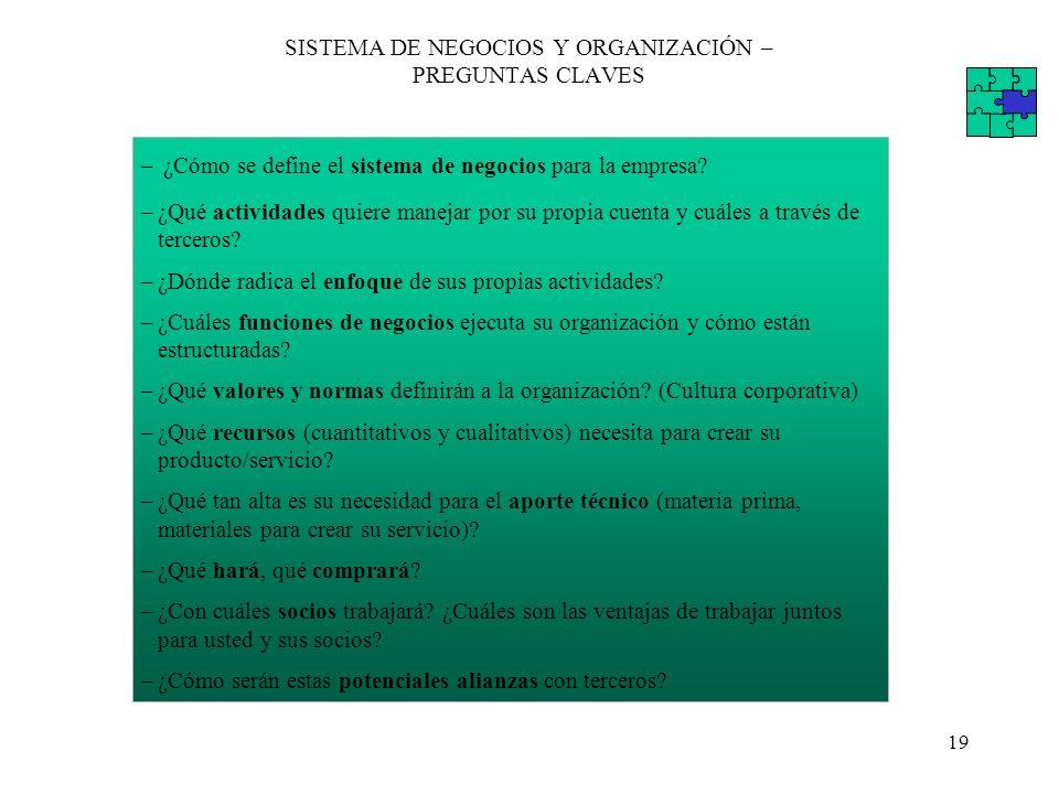 SISTEMA DE NEGOCIOS Y ORGANIZACIÓN – PREGUNTAS CLAVES
