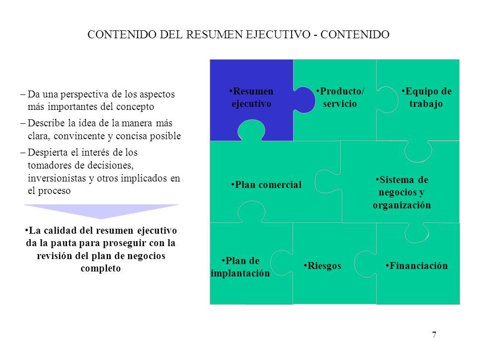 CONTENIDO DEL RESUMEN EJECUTIVO - CONTENIDO