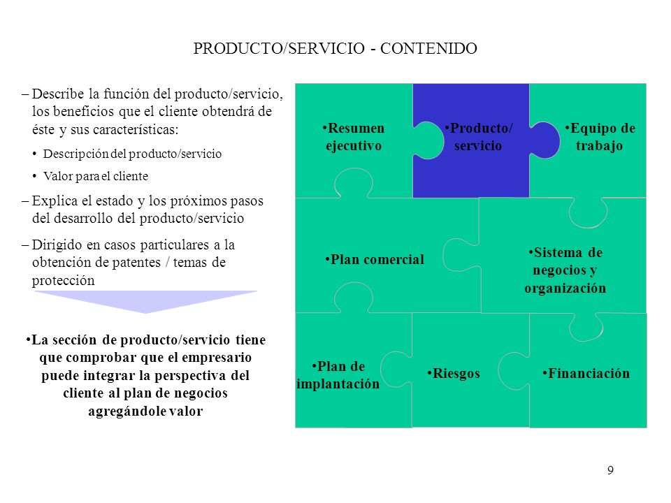 PRODUCTO/SERVICIO - CONTENIDO