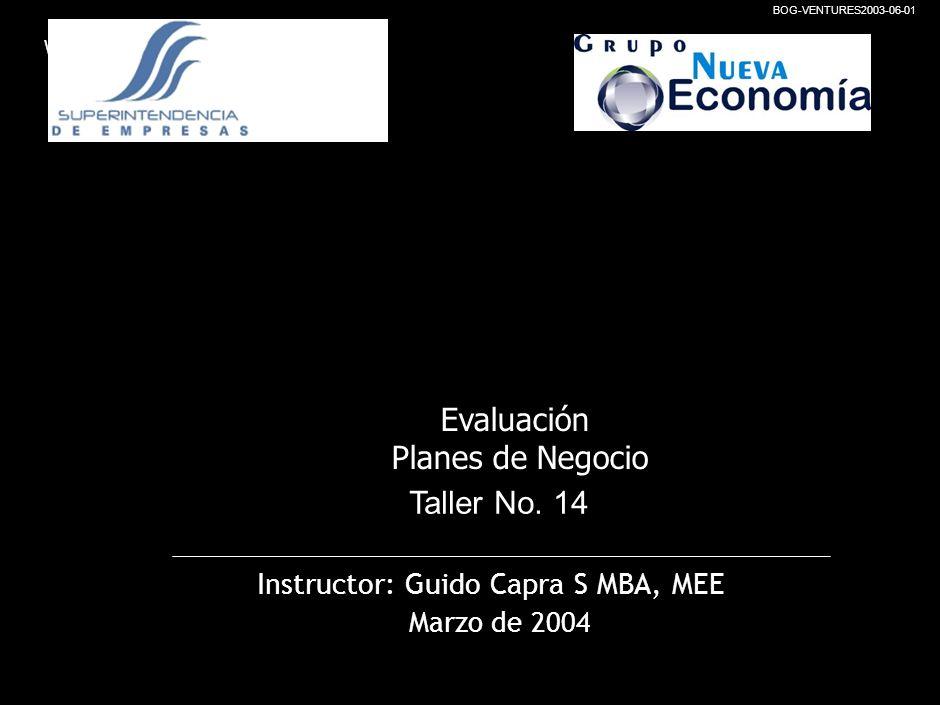 Evaluación Planes de Negocio Taller No. 14